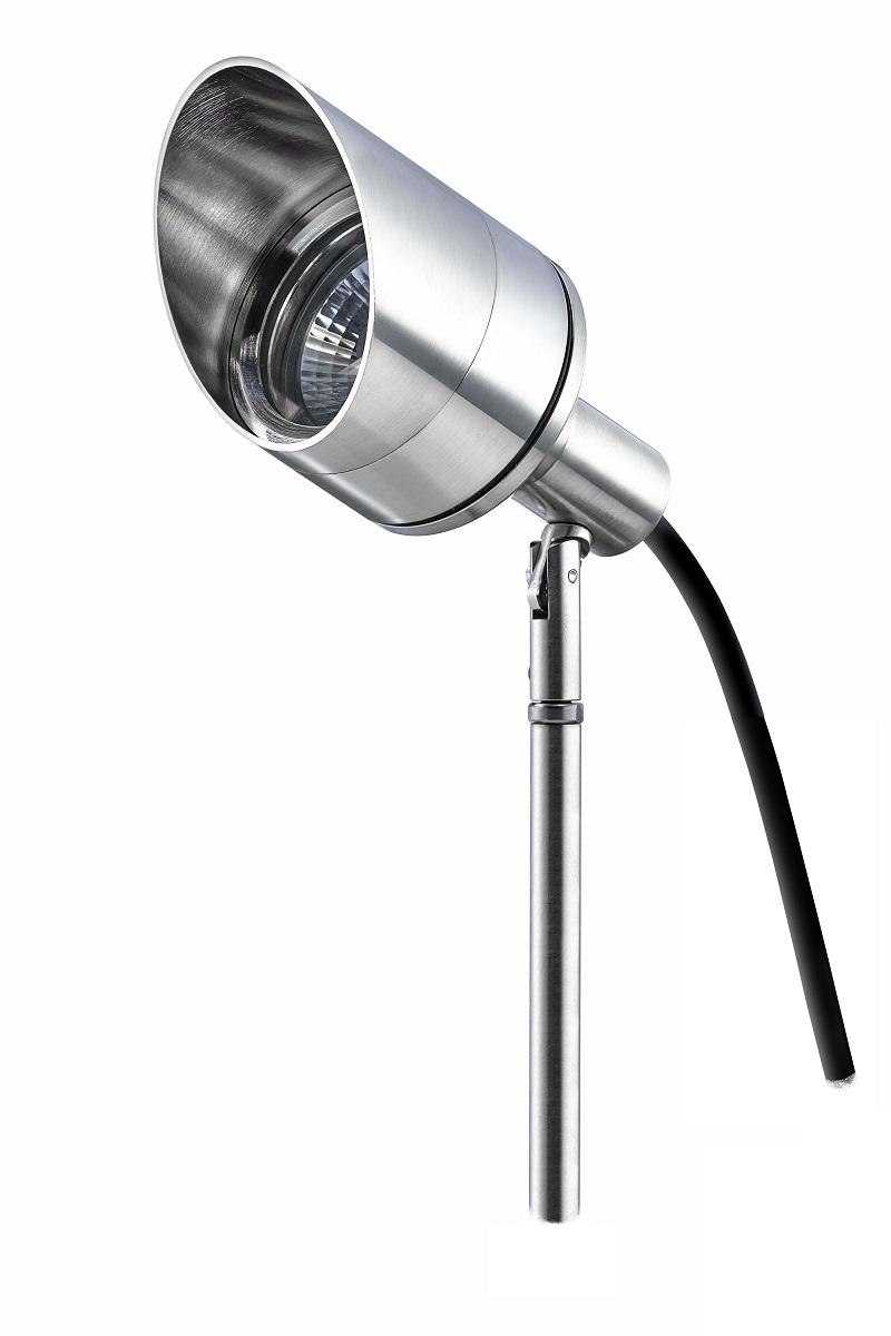 LED Spotleuchte SchegoLux-Max, inkl. Leuchtmittel, 5m Kabel, vier Farbscheiben, mit Erdspieß Edelstahl, Montagefuss, Messingdübe und Blendschutz Ø61mm