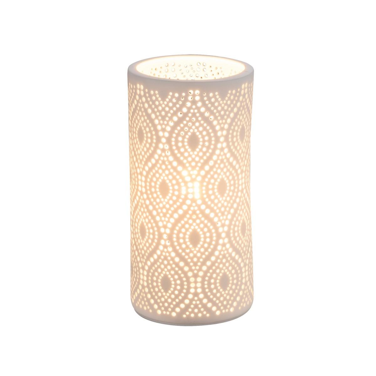 Porzellan Tischleuchte weiß matt ca. 4000 Löcher in Dekorstanzung Schalter 1x E14 bis 25 Watt